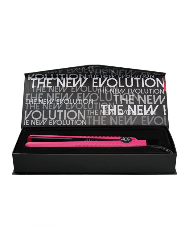 Evalectric classic styler 1.25 crazy pink flat iron box open
